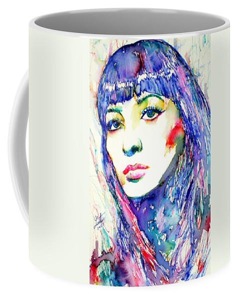Juliette Greco Coffee Mug featuring the painting Juliette Greco - Colored Pens Portrait by Fabrizio Cassetta