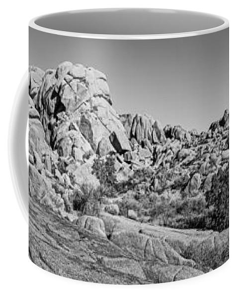 Joshua Tree Coffee Mug featuring the photograph Jumbo Rocks Bw by Kelley King