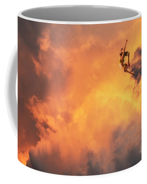 Surreal Coffee Mug featuring the digital art 'jump Into The Fire' by Suzette Kallen