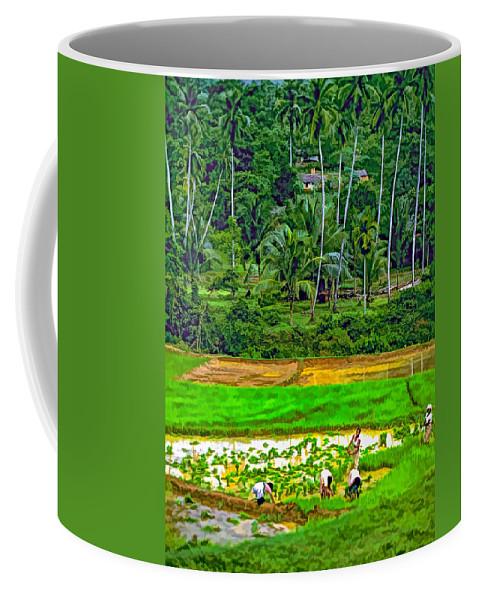 Sri Lanka Coffee Mug featuring the photograph Jungle Homestead Paint Version by Steve Harrington