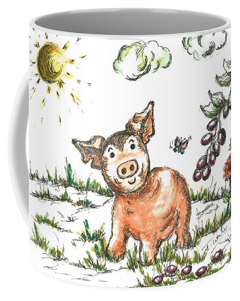 Teresa White Coffee Mug featuring the painting Junior Pig by Teresa White