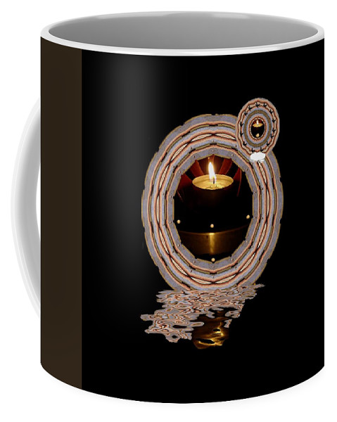 Candlelights Coffee Mug featuring the mixed media Just A Candle In The Wind by Pepita Selles