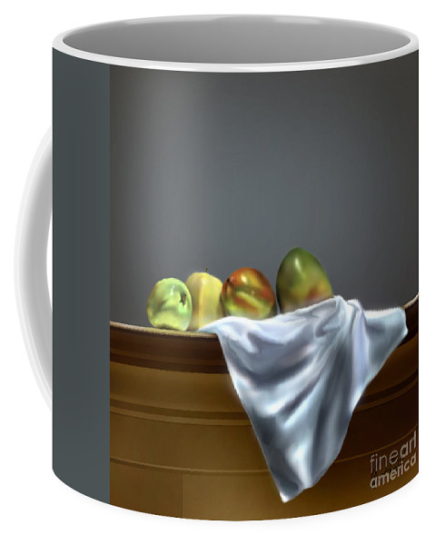 Still Life Painting Coffee Mug featuring the painting Just Apples And Mangos by Reggie Duffie