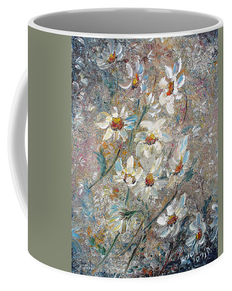 Daisies Painting Abstract Flower Painting Botanical Painting Bloom Greeting Card Painting Coffee Mug featuring the painting Just Dasies by Karin Dawn Kelshall- Best