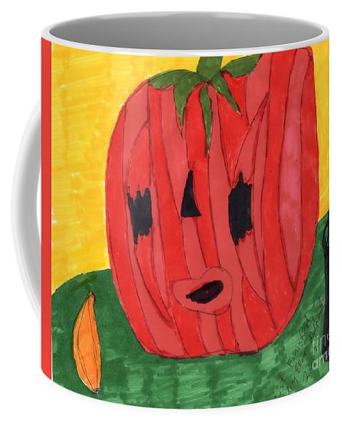 Carved Pumpkin Black Bucket Coffee Mug featuring the mixed media Just In Time by Elinor Helen Rakowski