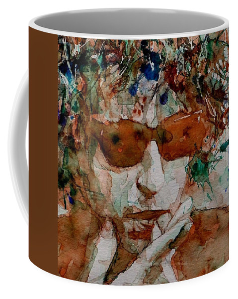 Bob Dylan Coffee Mug featuring the painting Just Like A Woman by Paul Lovering