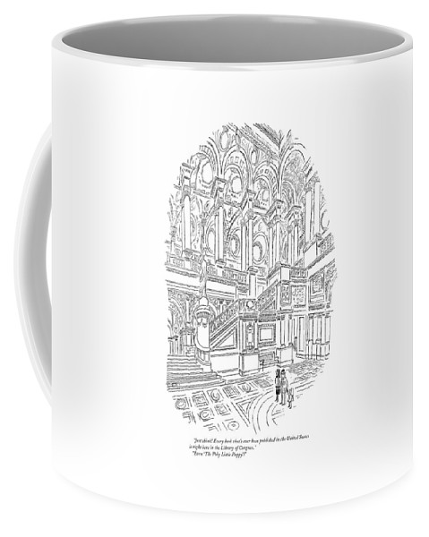 (family In Entrance To Library Of Congress. Child Asks About A Children's Book.) Books Literary Government Children's Books Coffee Mug featuring the drawing Just Think! Every Book That's Ever Been Published by Charles E. Martin