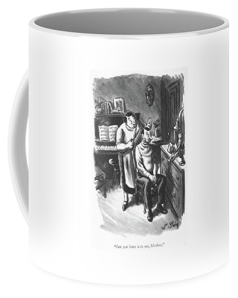 104731 Wst William Steig (wife Cutting Husband Hair.) Affection Barber Barbers Couple Couples Cut Cutting Domestic Don't Good Hair Hairs Hands Husband Love Marriage Married Matrimony Relations Relationships Romance Trim Trimming Wife Worry Coffee Mug featuring the drawing Just You Leave by William Steig