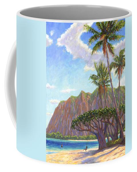 Kaaawa Coffee Mug featuring the painting Kaaawa Beach - Oahu by Steve Simon