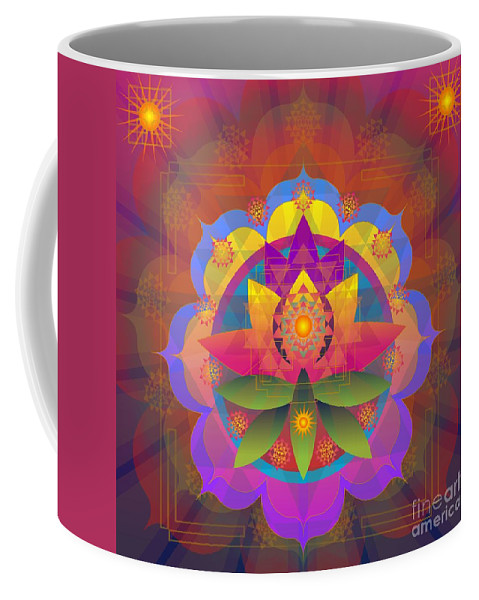 Mandala Coffee Mug featuring the digital art Kamalabhu 2014 by Kathryn Strick