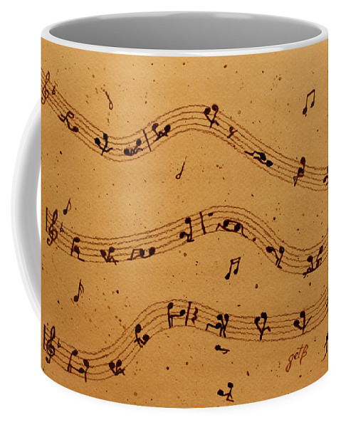 Abstract Music Coffee Mug featuring the painting Kamasutra Music Coffee Painting by Georgeta Blanaru