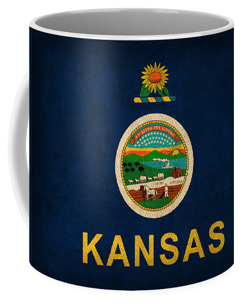 Kansas Coffee Mug featuring the mixed media Kansas State Flag Art On Worn Canvas by Design Turnpike