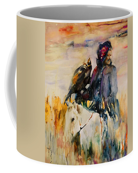 Watercolour Coffee Mug featuring the painting Kasak With Falcon by Miki De Goodaboom