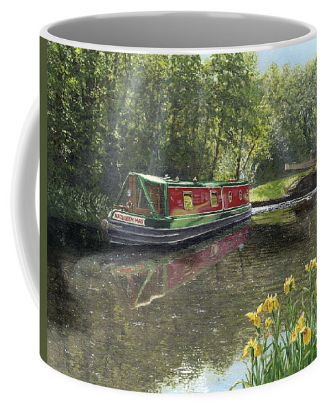 Landscape Coffee Mug featuring the painting Kathleen May Chesterfield Canal Nottinghamshire by Richard Harpum