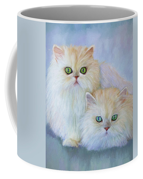 Cat Coffee Mug featuring the painting Katrina And Bjorn by David Wagner