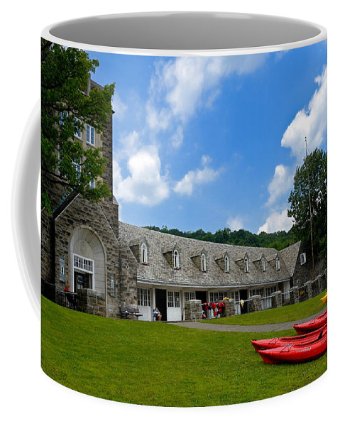 2 Seat Coffee Mug featuring the photograph Kayaks At Boat House by Amy Cicconi