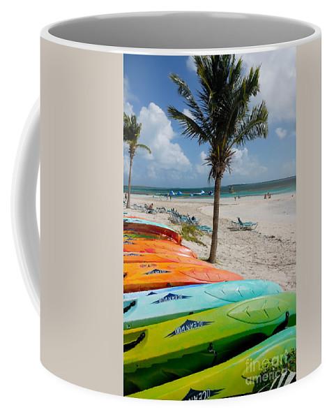 Bahamas Coffee Mug featuring the photograph Kayaks On The Beach by Amy Cicconi