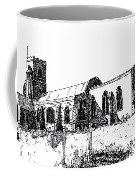 Kedington Coffee Mug featuring the drawing Kedington Church by Shirley Miller