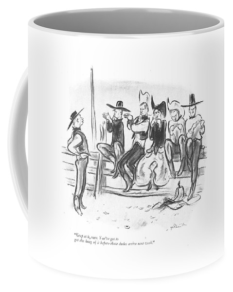 110396 Wga William Crawford Galbraith Dude Ranch Cowboys Learning To Roll A Cigarette. Cigar Cigarette Cigarettes Cigars Cowboy Cowboys Dude Learning Pipe Pipes Practice Ranch Ranches Rodeo Roll Rolling Smoke Smoker Smokers Smokes Smoking Tobacco West Western Coffee Mug featuring the drawing Keep At It, Men. You've Got To Get The Hang by William Galbraith Crawford