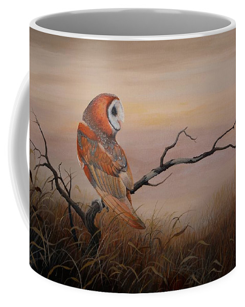 Barn Owl Coffee Mug featuring the painting Keeper Of Dreams by Charles Owens