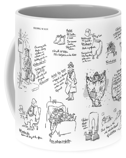 Keeping Warm (george Booth's Incomparable Attempts To Keep The Heat Up And Costs Down.) Technology Useless Fashion Seasons Winter Artkey 44834 Coffee Mug featuring the drawing Keeping Warm by George Booth