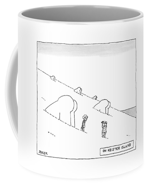 Easter Island Coffee Mug featuring the drawing Keister Island -- Statues Of Butts Instead by Jack Ziegler