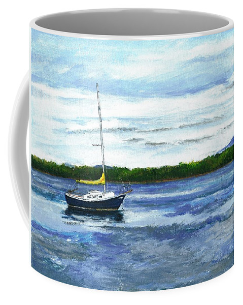 Lake Coffee Mug featuring the painting Kellogg's Bay Vt View Of Lake Champlain And Camel's Hump by Judith Rice