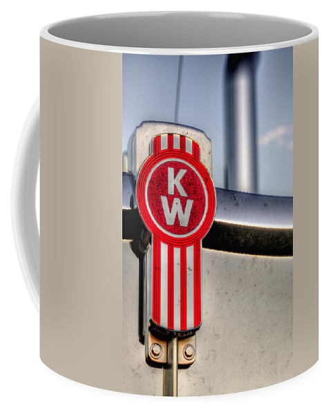 Transportation Coffee Mug featuring the photograph Kenworth Hood Logo 34709 by Jerry Sodorff