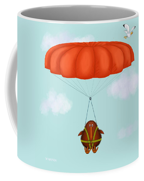 Parachute Coffee Mug featuring the digital art Kev Hanging About by Marlene Watson