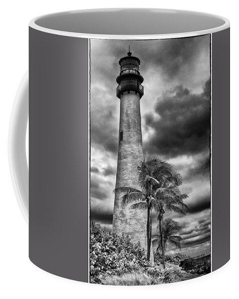 Key Biscayne Coffee Mug featuring the photograph Key Biscayne Fl Lighthouse Black And White Img 7167 by Greg Kluempers