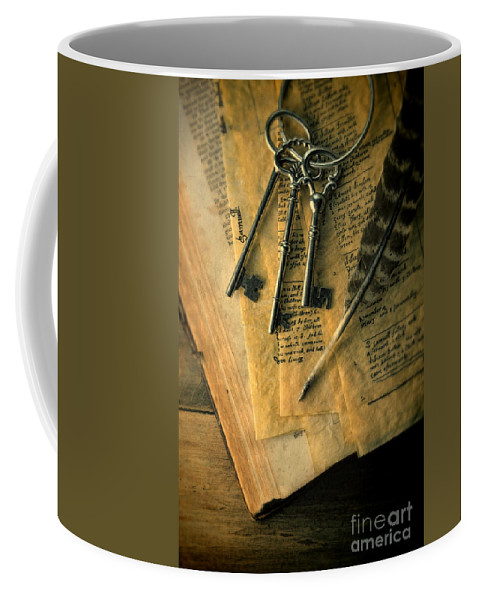 Keys Coffee Mug featuring the photograph Keys And Quill On Old Papers by Jill Battaglia