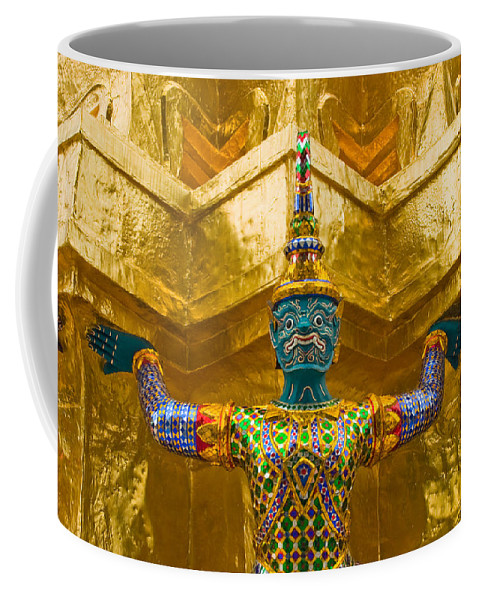 3scape Coffee Mug featuring the photograph Khon Guard by Adam Romanowicz