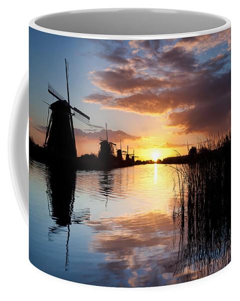 Kinderdijk Coffee Mug featuring the photograph Kinderdijk Sunrise by Dave Bowman