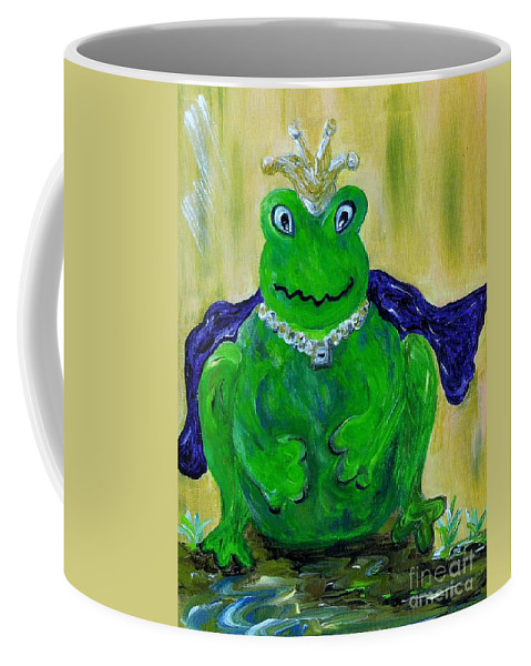 Frog Coffee Mug featuring the painting King For A Day by Eloise Schneider