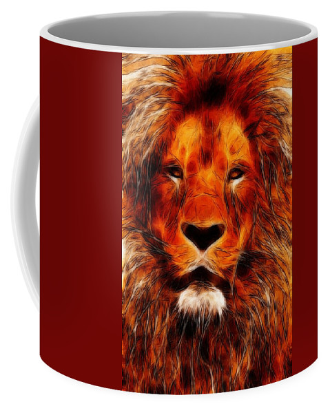 Lion King Portrait Animal Jungle Africa Safari Hunter Zoo Expressionism Impressionism Face Painting Abstract Danger Dangerous Majestic Coffee Mug featuring the painting King Of The Jungle by Steve K