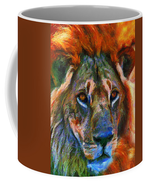 Lion Coffee Mug featuring the mixed media King Of The Wilderness by Georgiana Romanovna