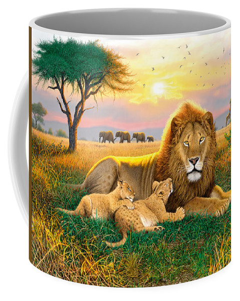 Animal Coffee Mug featuring the photograph Kings Of The Serengeti by MGL Meiklejohn Graphics Licensing