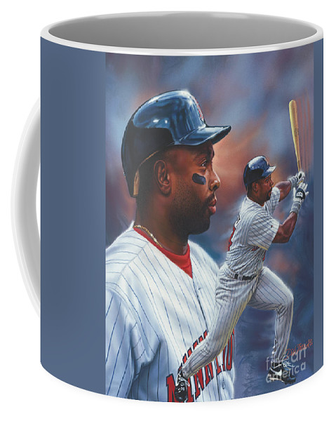 Portrait Coffee Mug featuring the painting Kirby Puckett Minnesota Twins by Dick Bobnick