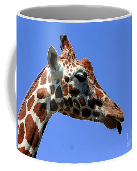 Giraffe Coffee Mug featuring the photograph Kiss Me Baby by Kathleen Struckle