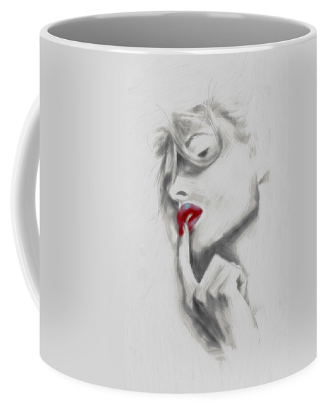 Woman Female Girl Face Lips Kiss Kisses Red Drawing Beauty Portrait Erotic Sensual Coffee Mug featuring the painting Kiss Me by Steve K