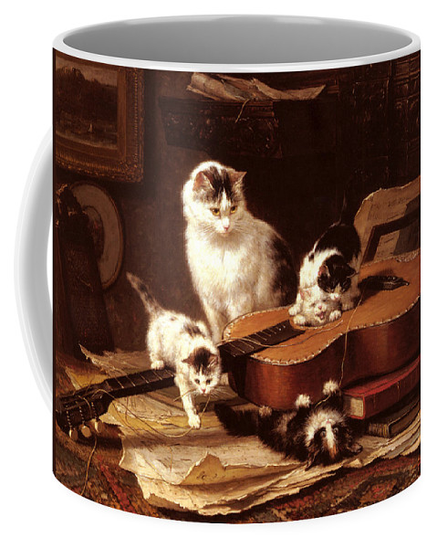 Henriette Ronner Knip Coffee Mug featuring the digital art Kittens Playing With A Guitar by Henriette Ronner Knip
