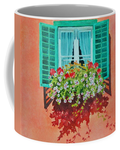 Window Box Coffee Mug featuring the painting Kitzbuhel Window by Mary Ellen Mueller Legault
