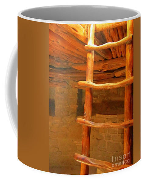 Pueblo Indians Coffee Mug featuring the photograph Kiva Ladder by John Malone