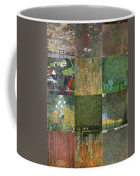 Klimt Coffee Mug featuring the painting Klimt Landscapes Collage by Philip Ralley