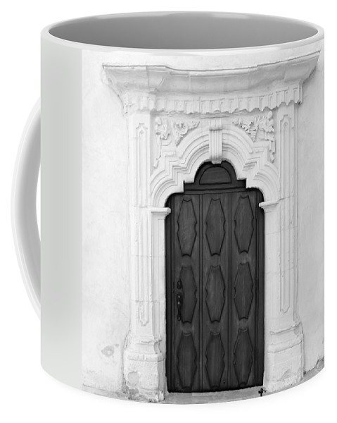 San Carlos Mission Door Coffee Mug featuring the photograph Knock And It Shall Be Opened by Marianne Jimenez