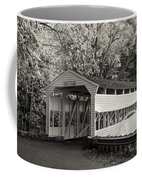 Knox Coffee Mug featuring the photograph Knox Covered Bridge In Sepia by Bill Cannon