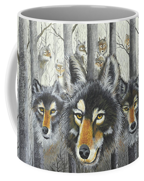 Wolves Coffee Mug featuring the painting Knoxville Wolves by Terry Lewey