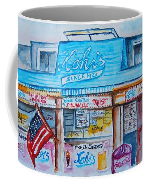 Custard Coffee Mug featuring the painting Kohrs Frozen Custard by Elaine Duras