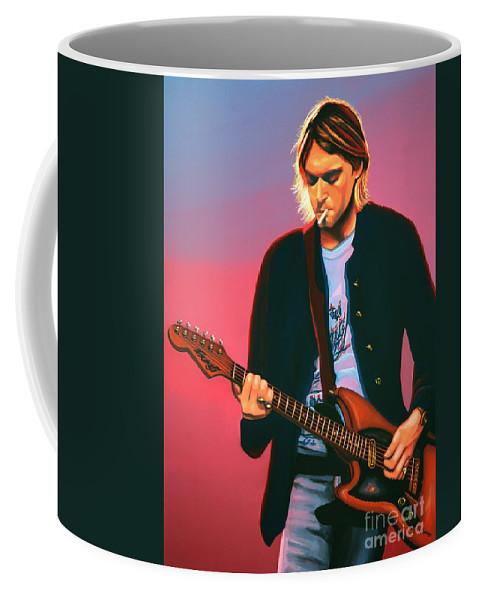 Kurt Cobain Coffee Mug featuring the painting Kurt Cobain in Nirvana Painting by Paul Meijering
