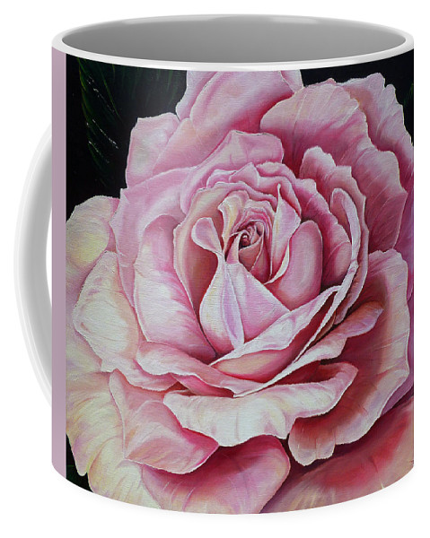 Rose Painting Pink Rose Painting  Floral Painting Flower Painting Botanical Painting Greeting Card Painting Coffee Mug featuring the painting La Bella Rosa by Karin Dawn Kelshall- Best